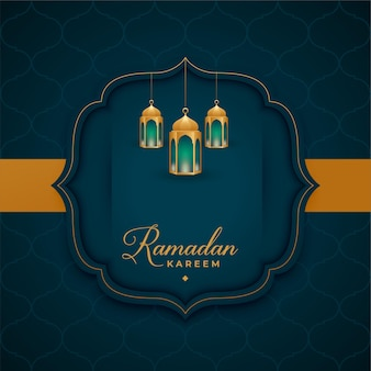 Islamischer gruß von ramadan kareem mit laternendekoration