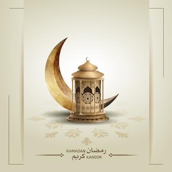 Islamischer grußhintergrund mit laterne und halbmond