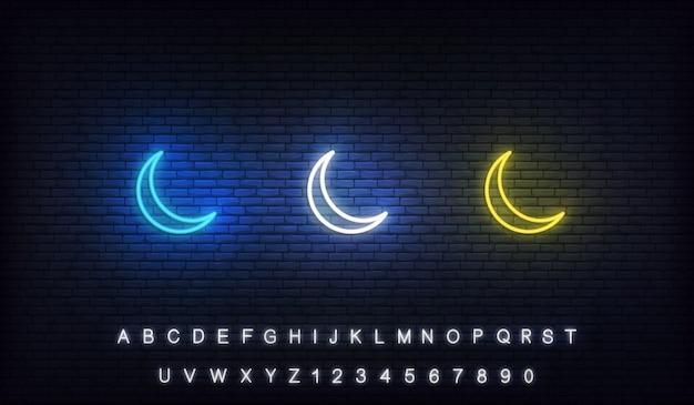 Islamischer halbmond neon. satz bunter halbmond des ramadan-neons