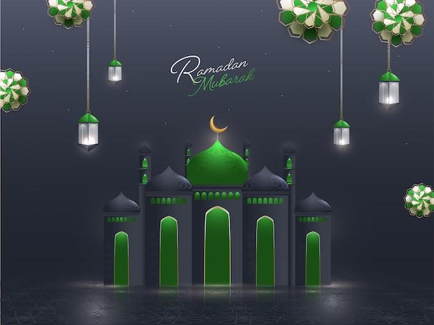 Islamischer heiliger monat der gebete, ramadan mubarak konzept mit schöner moschee, hängende beleuchtete laternen, blumenmuster auf grauem hintergrund.