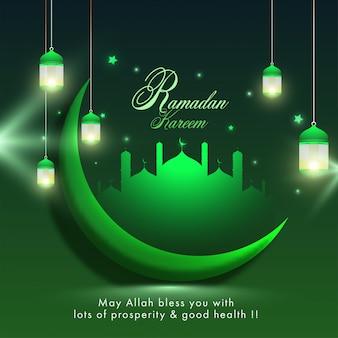 Islamischer heiliger monat des ramadan kareem-konzepts mit hängenden beleuchteten laternen, halbmond und moschee. grüne farbelemente auf grünem hintergrund.