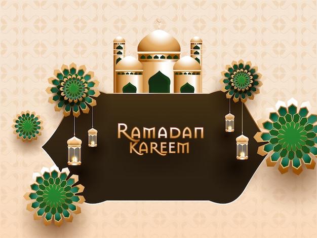 Islamischer heiliger monat des ramadan kareem-konzepts mit schöner moschee und blumenmuster und hängenden beleuchteten laternen.