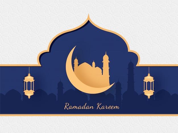 Islamischer heiliger monat des ramadan kareem mit goldener moschee, halbmond und hängenden laternen auf moscheesilhouette auf lila und weißem hintergrund.