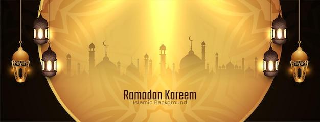 Islamischer heiliger monat ramadan kareem festival banner design vektor