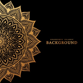 Islamischer hintergrund der arabeske mit goldluxusblumen
