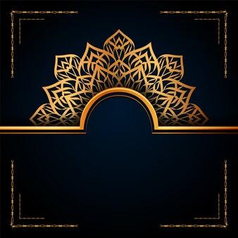 Islamischer hintergrund des luxuriösen dekorativen goldenen arabesken mandalas.