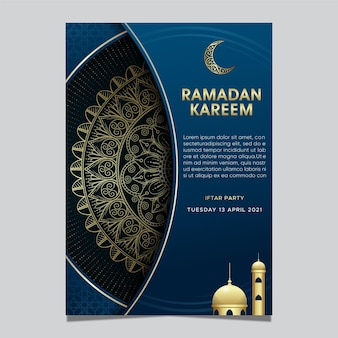 Islamischer hintergrund des ramadan kareem mit mandalaverzierung