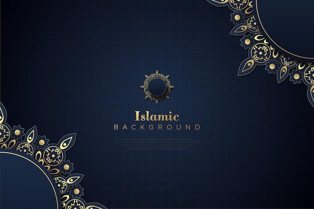 Islamischer hintergrund mit goldfarbenem ornament.