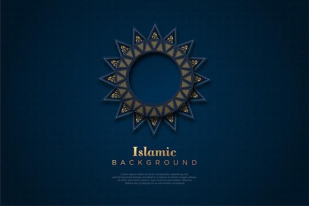 Islamischer hintergrund mit luxuriöser goldkreisverzierung.