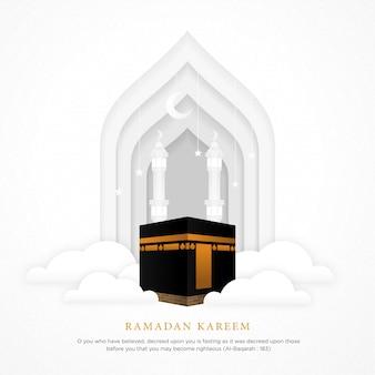 Islamischer hintergrund mit realistischer ka'bah alharam moschee