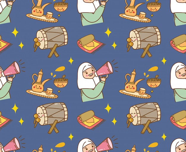 Islamischer karikaturgekritzelhintergrund