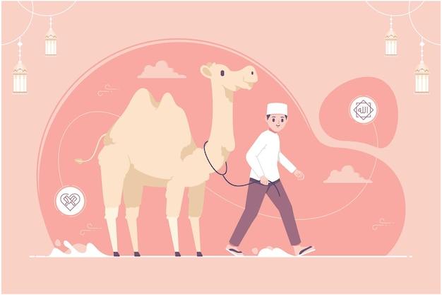 Islamischer muslimischer charakter mit kamelillustration
