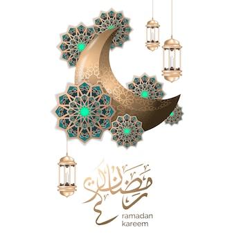 Islamischer ramadan-gruß mit halbmond und goldlaterne