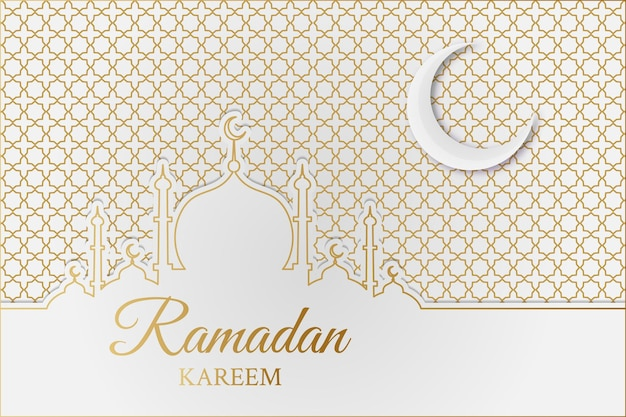 Islamischer ramadan kareem hintergrund mit moschee, halbmond und geometrischem muster