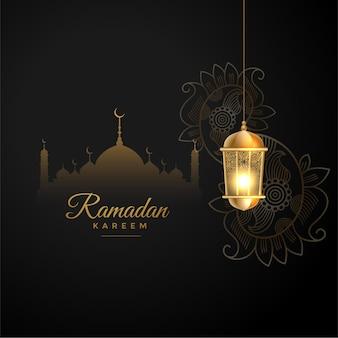 Islamischer ramadan kareem wünscht begrüßung im schwarzen und goldenen stil
