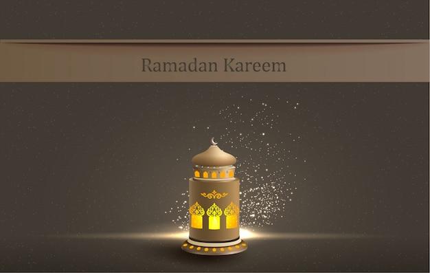 Islamischer ramadan-kartenentwurf mit goldlaterne