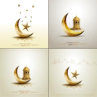 Islamischer schablonen-goldhalbmond