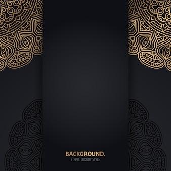 Islamischer schwarzer hintergrund mit goldenen geometrischen mandalakreisen