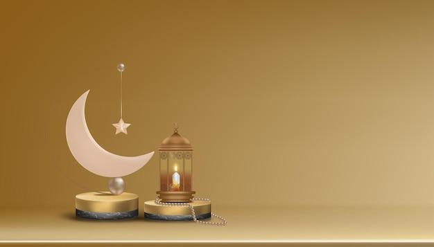 Islamisches 3d-podium mit rotgold-halbmond, traditioneller islamischer laterne, rosenkranzperlen, kerze. horizontales islamisches banner