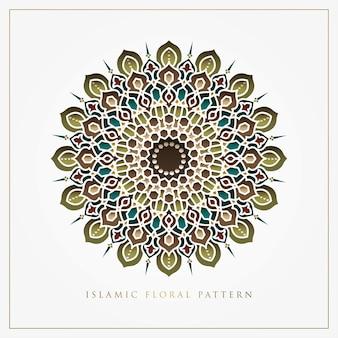 Islamisches blumenmusterdesign für grußkarte, hintergrund, tapete und emblem
