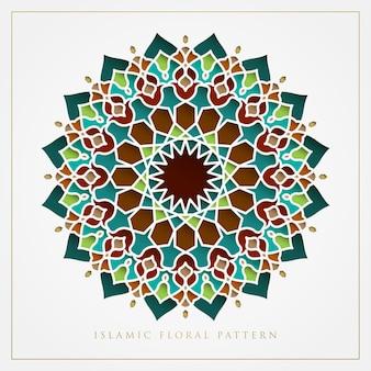 Islamisches blumenmusterdesign für ramadan kareem, eid mubarak, isra und miraj design