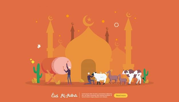 Islamisches designillustrationskonzept für glückliches eid al-adha oder opferfeierereignis