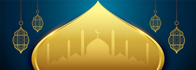 Islamisches eid festivalbanner in der goldenen farbe