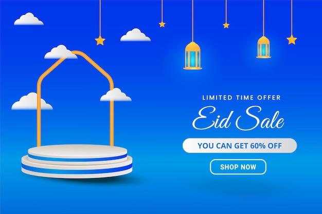 Islamisches eid-verkaufsbanner mit 3d-podest