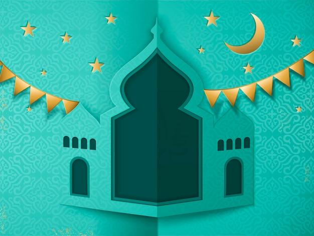 Islamisches feiertagsdesign im papierkunststil mit türkisfarbener moschee und goldenen partyflaggen
