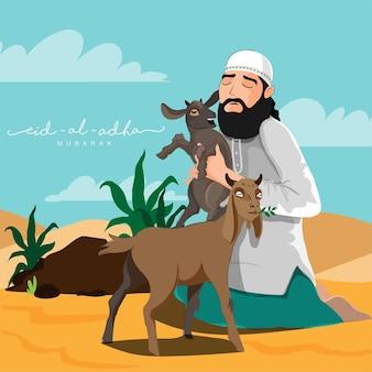 Islamisches festival eid-al-adha mubarak konzept mit muslimischem mann mit ziege
