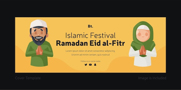 Islamisches festival ramadan eid al fitr deckblattdesign