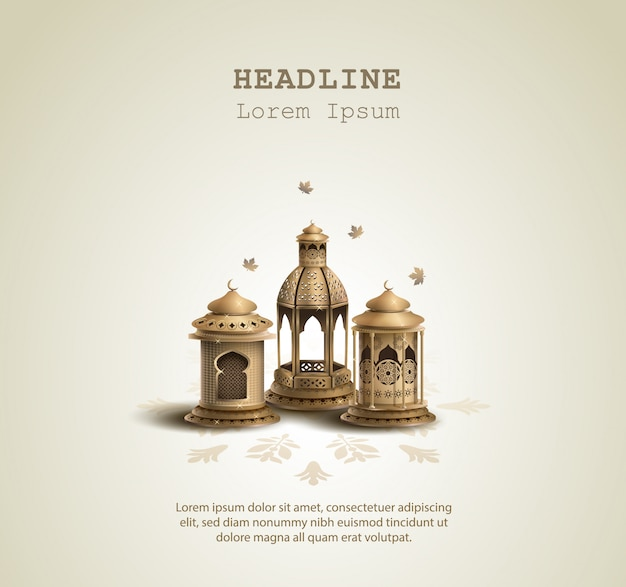 Islamisches grußpostkartendesign mit goldlaternen