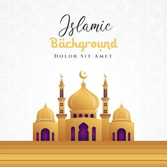 Islamisches hintergrunddesign mit 3d-moschee-illustration in goldfarbe. kann für grußkarten, kulissen oder banner verwendet werden
