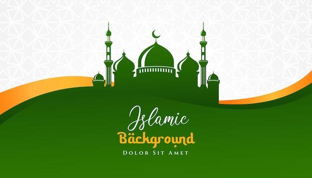 Islamisches hintergrunddesign mit moscheeillustration. kann für grußkarten, kulissen oder banner verwendet werden