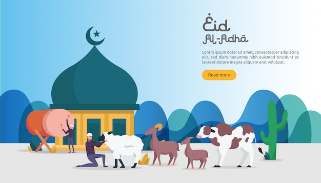 Islamisches konzept für glückliches eid al adha oder opferfeierereignis Premium Vektoren