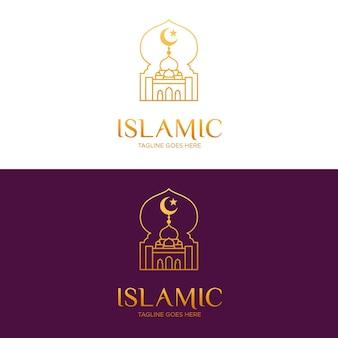 Islamisches logo in gold auf verschiedenen hintergründen