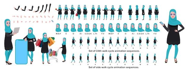 Islamisches mädchen-charakter-design, animationsposen zeichensatz