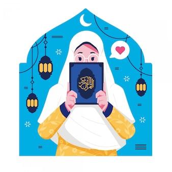Islamisches mädchen, das koran hält