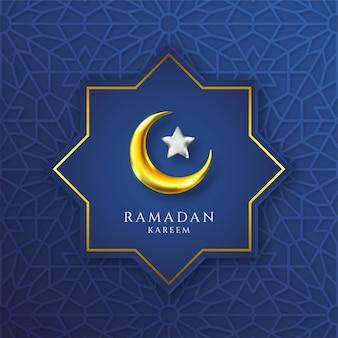 Islamisches muster der ramadan-kareem-grußkarte mit schönem halbmond und stern