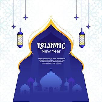Islamisches neues jahr mit blauem torplakat