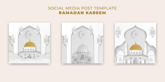 Islamisches ramadan kareem banner mit goldweißpapierschnittart