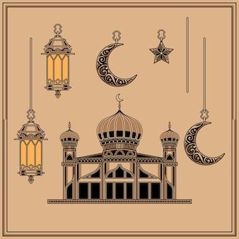 Islamisches ramadan-schablonenbündel