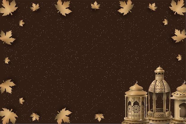 Islamisches schablonendesign mit goldlaternen