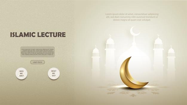 Islamisches vorlesungsschablonendesign mit halbmond