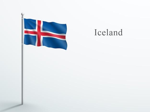 Island-flagge 3d element, das auf stahlfahnenmast winkt Premium Vektoren