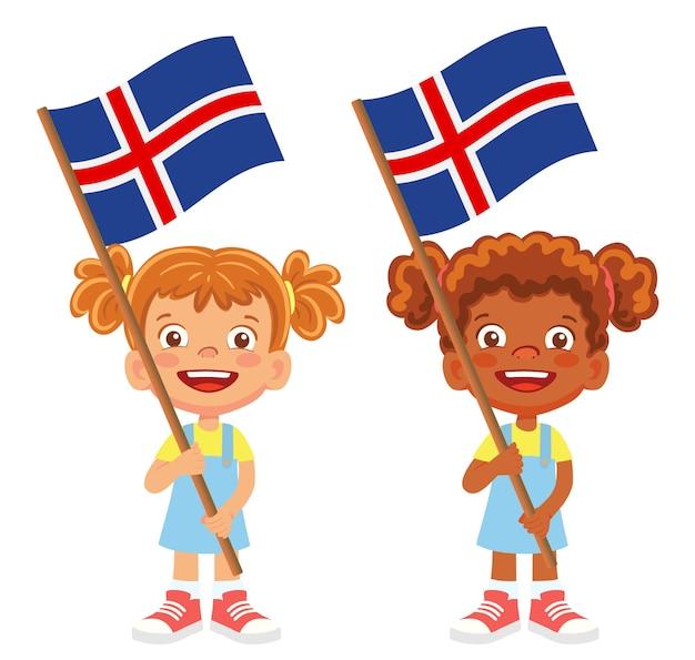 Island flagge in der hand. kinder halten flagge. nationalflagge von island vektor