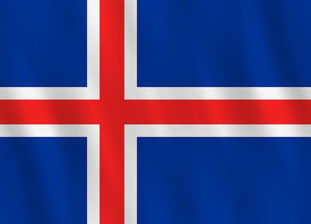 Island-flagge mit wehender wirkung, offizieller anteil.