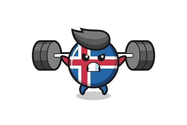 Island-flaggen-maskottchen-cartoon mit einer langhantel, süßes design