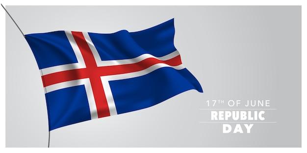 Island glücklicher tag der republik. designelement des isländischen feiertags 17. juni mit wehender flagge als symbol der unabhängigkeit