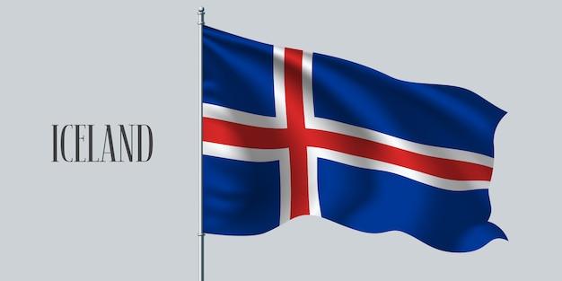 Island weht flagge auf fahnenmast